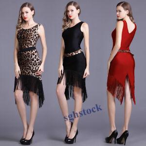 2021 Lady Adult Latin Tassel Fringe Modern Slim Tango Dance Dress Sleeveless S18