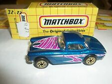 Matchbox Corvette '62 1962 Blue Mb32 W/Box 32J2