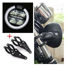 6.8'' Vintage Motorcycle Angel Eyes LED Headlamp ( White) + 41mm CNC Bracket