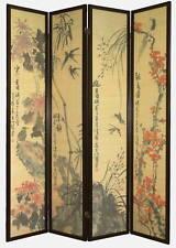4 Panel Wood/Bamboo Flowers & Birds Screen / Room Divider