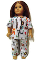 """Woodland Creatures Scrubs with Stethoscope fits American Girl 18"""" Doll Clothes"""