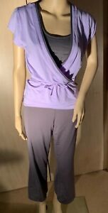 WOMEN'S THREE PIECE YOGA OUTFIT, CHAMPION, LILAC AND GRAY, SIZE M/L