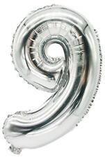 PAPSTAR Folienballon Zahlen, Ziffer: 9, silber