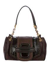$2600 Oscar de la Renta Chocolate Brown Leather Shoulder Hand Bag ITALY Auth