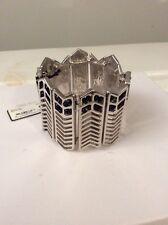 Steve Madden Silvertone Geometric Cutout Black Crystal Stretch Bracelet #501