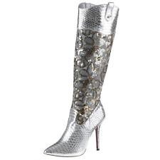 Wadenhohe Stiefel mit Kunstleder und Reißverschluss