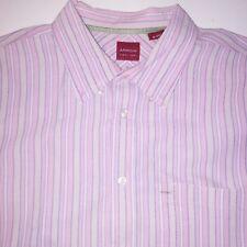 Arrow Mens Button Down Shirt XL Pink Stripe Cotton Long Sleeve