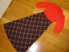 Victorian Caroling Hello Dolly 2 pc dress red blouse plaid skirt  M womens