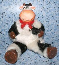 Kuh mit Schlenkerbeinen Figur 17cm hoch  10cm SH Keramik Plüsch Dekoration