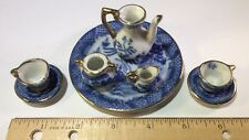 Vintage  Miniature Child Doll Tea Set Cups Saucers Tea Pot Creamer Sugar Patter
