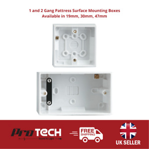 1 and 2 Gang Pattress Surface Mounting Boxes Available in 19mm, 30mm, 47mm
