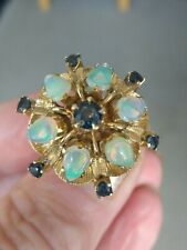 Stunning Large 14ct Gold Opal & Sapphire Statement Ring. Size N 1/2