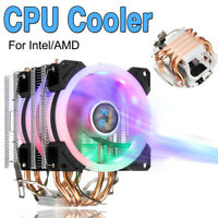 CPU Cooler W/ LED RGB Fan 4 Pipe 4 Pin For Intel AMD LGA 775/1155/1156/1150/1366