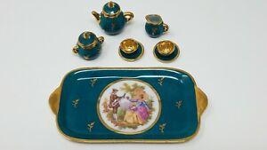 MINIATURE Limoges France 10pc Porcelain Tea Set - Teal Green and Gold