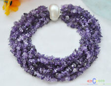 """S1410 10row 17"""" nature purple amethyst detritus necklace mabe pearl clasp"""