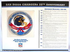 SAN DIEGO CHARGERS ~ 25th ANNIVERSARY NFL PATCH STAT CARD Willabee & Ward ~ 1984