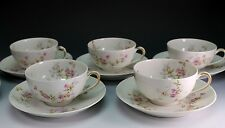 Theodore Haviland Limoges Schleiger 339 - 8 Smooth Set of 5 Cups Cup Saucers