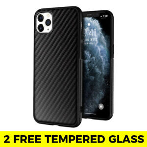 Carbon Fibre Phone Case + Tempered Glass iPhone SE 2 11 PRO MAX XR X XS 7 8 6 6s