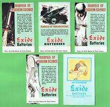 #D481. FIVE(5)  1960s EXIDE MOTOR  VEHICLE BATTERIES  INK BLOTTERS