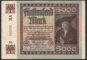 1922 5000 Mark Germany Old Vintage Paper Money Banknote Currency Antique VF