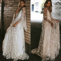 Women Sheer Mesh Sequin Star Maxi Long Ball Gown Prom Dress Formal Party Evening
