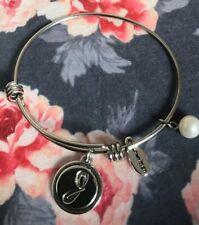 Unwritten Vintage Bangle Charm Bracelets Mixed Theme Letter J
