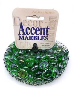 "Mega Marbles 1/2"" Small Round Green Clear Mosaic Glass Gems 12oz Net Bag Vacor"