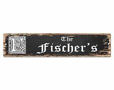 SPFN0419 The FISCHER'S Family Name Street Chic Sign Home Decor Gift Ideas
