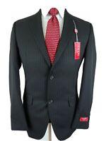 New Chaps Ralph Lauren Mens Black Chalk Stripe Wool Blazer Suit Jacket Pin 36R