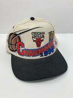 VINTAGE 1996 CHICAGO BULLS CHAMPIONSHIP HAT CAP SNAPBACK NBA  Off White