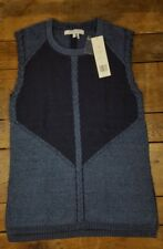 NWT $89 FOXCROFT Sweater Vest Sleeveless Women's Small Cotton Wool Blend Blue J1