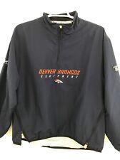 NFL Denver Broncos Jacket Mens Pullover Reebok Windbreaker Blue Large Equipment