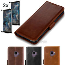 For Samsung Galaxy S9 Plus Flip Leather Wallet Case Card Cover +Screen Protector