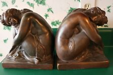 Vintage Beautiful Female Seated Nude Bookends Large Bronze Tone Ceramic