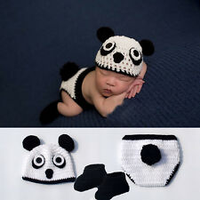 Newborn Baby Cute Crochet Animal Costume Hat Photo Suit Kung Fu Panda Style 1PC