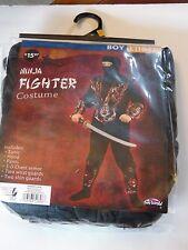 Boy size 10-12  L Black & Red Ninja 3D Fighter Halloween Costume Decoration