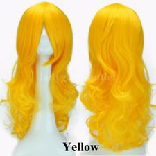 Long Wig Women Curly Wavy Cosplay Party Hair Wig Costume Ombre Colorful Pink 3aa