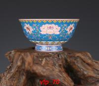 "6.2""Old China antique Qing Dynasty Qianlong Pastel Lotus bowl  a1697"
