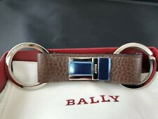 New Bally Saxton Key Holder Keychain Brown Calf Leather Palladium Brass  $280