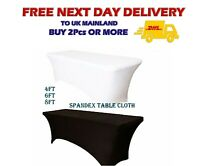 WHITE RECTANGULAR SPANDEX Table Cover Stretch Wedding Party Buffet Cloth