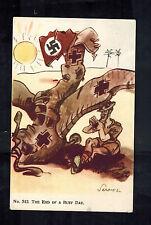 Mint WW2 England Anti Nazi Propaganda Postcard End of a Busy Day Shot Down Plane