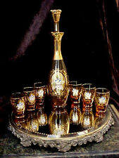 Vntge ORNATE HP APPLIED FLOWERS Amber Glass Decanter 6 Shot Glasses Murano ITALY