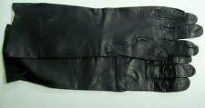 Vintage Long Black Kid Leather Gloves Made in France