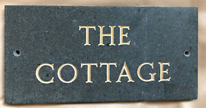 """New Slate Name Plaque: """"The Cottage"""" Cumbrian Slate Wall Plaque."""