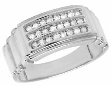 Mens 10K White Gold Real Diamond Channel Step Shank Wedding Band Ring 1/4 CT 9MM