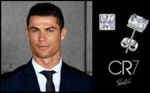 Men's Boy's Ronaldo 10mm Square 18k White Gold Multi-Diamond Crystal Earrings