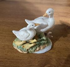 Vintage Bisque Porcelain Homco 1459 Goose Family Figurine Vgvc Free Ship!
