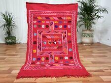 Moroccan Red Handmade wool carpet 3' x 5' Berber Nomad Sahara Kilim wool Rug