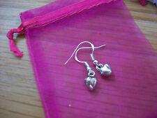 """Tibetan Silver Solid Mini Heart Earrings .925 SP Hooks 1"""" Drop NEW"""