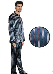 Mens Silk Satin Striped Pajama Set - PJ
